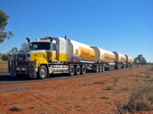 A Shell branded road train